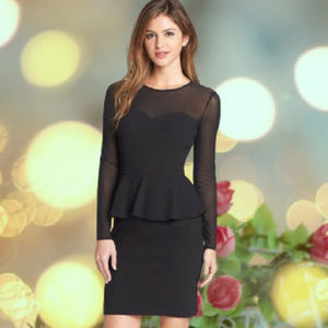 Mesh Long Sleeve Sweetheart Dress Peplum Black 4P